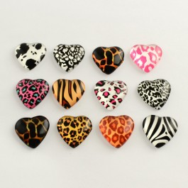MC498: Heart Animal Print Glass Cabochons 20mm, 20 pieces [ B6 ]