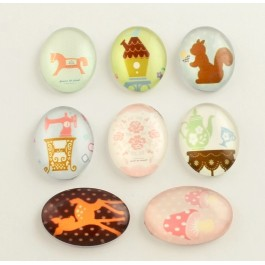 MC507: 20 pieces 18x13mm Cute Toy Pattern Glass Oval Flat back Cabochons for DIY Project Jewelry Making [ C16 ]