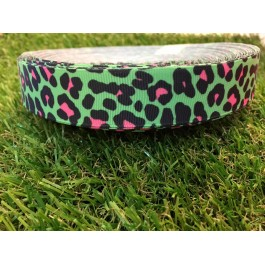 RB006: Green Leopard Grograin Ribbon 22mm, 5meter