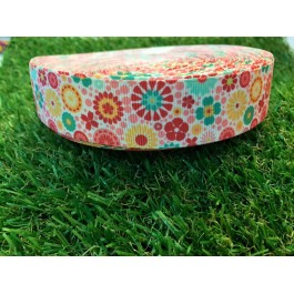 RB009: Flower Grograin Ribbon 25mm, 5meter