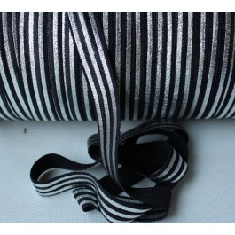 ER132: Black Silver Foil: FOE Fold Over Elastic Ribbon DIY Stretch Baby Headband Hair Tie Accessories Webbing 15mm, 5 meter