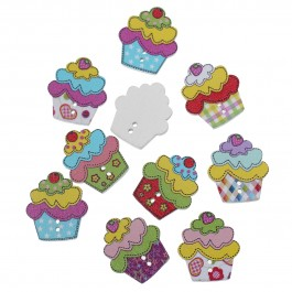B64736: 100 pieces 22x25mm Cup Cake Wooden Button DIY Sewing Craft [ A3 ]