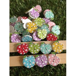 MC541: Apple Wooden Button 20x20mm, 50 pieces [ A2 ]