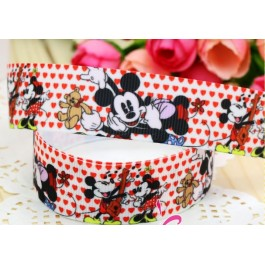RB058: Mickey Minnie Grosgrain Ribbon 22mm 5meter