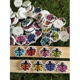B67143: Wood Buttons Ladybug 17x15mm, 50 pieces [ A2 ]