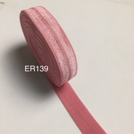 ER139: WILD ROSE: FOE Fold Over Elastic Ribbon DIY Stretch Baby Headband Hair Tie Accessories Webbing 15mm, 5 meter