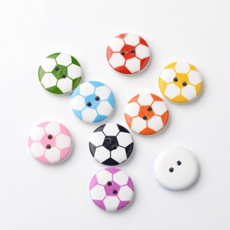 B50196: 100 pieces 20mm Football Wooded Button DIY Sewing Craft Kids Mask Extension [ B1 ]