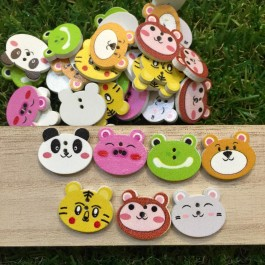 MC558: Animal head Wood Button 20x17mm, 50 pieces [ A2 ]