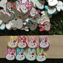 MC583: Rabbit Printed Button 24x20mm, 50 pieces [ A11 ]