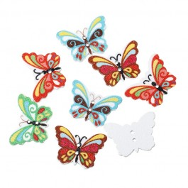 MC580: 50 pieces 23x17mm Dyed Printed Butterfly Wooded Button DIY Kid Craft Brooch Sewing   [ A10 ]