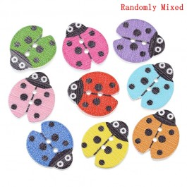 MC551: 50 pieces 16x18mm Lady Bug Wood Button Wood Painting Sewing Buttons Scrapbooking DIY Kid Craft [ A10 ]