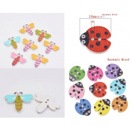 B32080: 100 pieces Lady Bug Dragonfly Wood Button Wood Painting Sewing Buttons Scrapbooking DIY Kid Craft [A15]