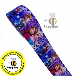 RB070: Frozen Grosgrain Ribbon 22mm, 5Meter