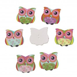 B64074: Owl Wood Button 29x28mm, 50 pieces [ B13 ]