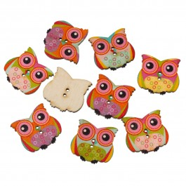 B55992: Owl Wood Button 29x27mm, 50 pieces [ B15 ]