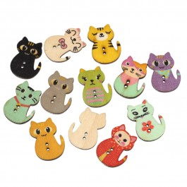 B57022: Cat Wood Button 30x23mm, 100 pieces/pack [ B17 ]