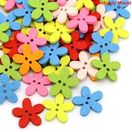 B28602: Flower Wood Buttons 14x15mm, 100 pieces/pack [ B8 ]