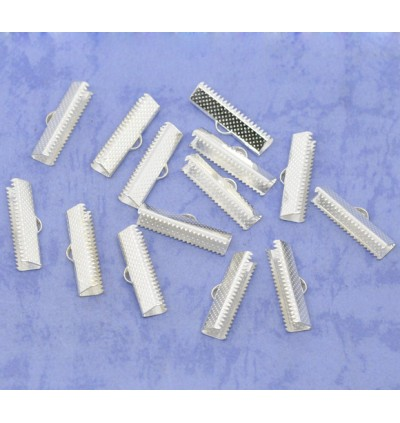 B10848: Silver Plated Textured End Caps Crimp 25x7.5mm, 100 pieces [ B3 ]