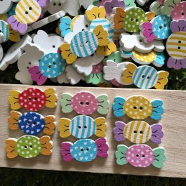 MC597: Candy wooded Button 25x12mm, 50 pieces [ B18 ]