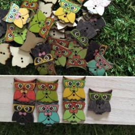WB001: Owl Wood Button 23x20mm, 50 pieces [ B15 ]