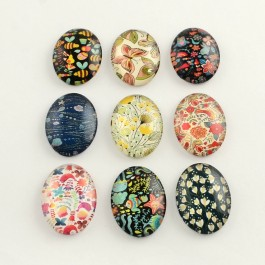MC613: 20 pieces 18x13mm Insert Plant Oval Printed Glass Cabochons DIY Jewelry Making accessory time gem glass [ C17 ]
