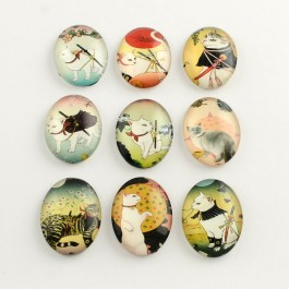 MC617: 20 pieces 18x13mm Cat Oval Printed Glass Cabochons DIY Jewelry Making accessory time gem glass [ C17 ]