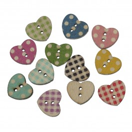 B60145: Wood Button Heart 17x15mm, 100 pieces [ C14 ]