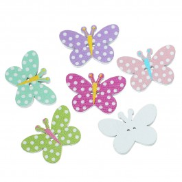 B62152: Wood Button Butterfly 25x 17mm, 50 pieces [ A15 ]