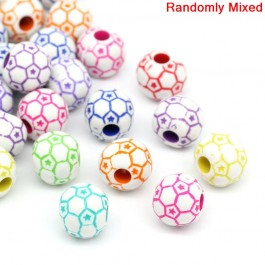 B20294: Acrylic Soccer Football Spacer Beads 12x11mm, 100 pieces [ B4 ]