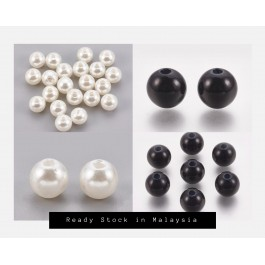 45 grams 6mm 8mm 10mm IVORY / BLACK Round ABS Plastic Imitation Pearl Beads DIY Jewelry making Bracelet Craft
