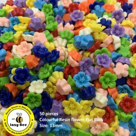 SA075: 50 pieces Colourful Resin flower Flat Back 13mm [ A8 ]