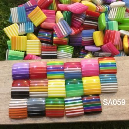 SA059: Stripe Square Resin 12x12mm, 100 pieces [ A12 ]