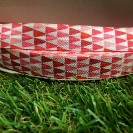 ER144: Pink Triangle: FOE Fold Over Elastic Ribbon DIY Stretch Baby Headband Hair Tie Accessories Webbing 15mm, 5 meter