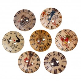 WB229: 50 pieces 20mm Wood Button Round Clock Pattern DIY Sewing Craft [ A8 ]
