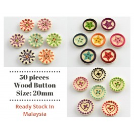WB202: 50 pieces 20mm Printed Wood Buttons Flat Round DIY Sewing Craft