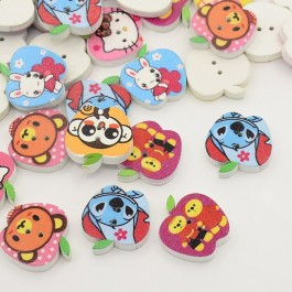 WB011: 50 pieces 25x24mm Apple Dyed Printed 2-Hole Wooden Buttons DIY Kid Craft Sewing Button [ A22 ]