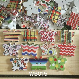 WB015: Butterfly Wood Button 29x21mm, 50 pieces [ B7 ]