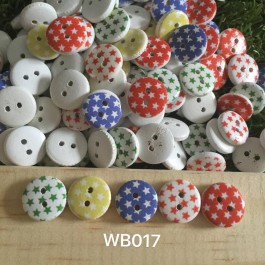 WB017: Star Wood Button 13mm, 50 pieces [ A20 ]