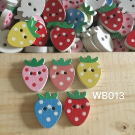 WB013: Strawberry Wood Button 19x15mm, 50 pieces [ B18 ]