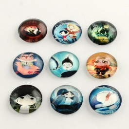 MC652: 20 pieces 20mm Cartoon Round Printed Glass Half Round / Dome Cabochons DIY Jewelry Making accessory time gem glass [ B4 ]