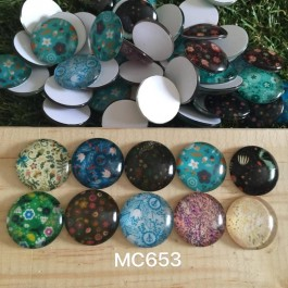 MC653: Flower Round Glass Cabochons 20mm, 20 pieces [ B7 ]