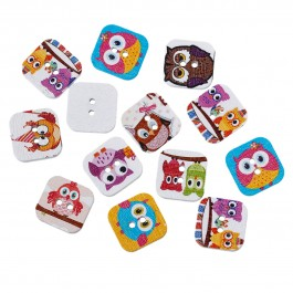 B54673: Owl Square Wood Button 15mm, 50 pieces [ A8 ]