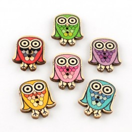 WB019: 50 pieces 30x24mm Owl 2-Hole Printed Wooden Buttons DIY Craft Kids Brooch Sewing Button [ A11 ]