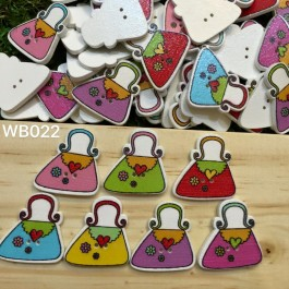 WB022: Lady Bag Wood Button 25x24mm, 50 pieces [ C17 ]