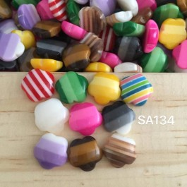 SA134: Flower Striped Resin 12mm, 50 pieces [ A23 ]