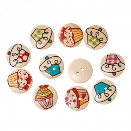 B52152: Cupcake Round Wood Button 20mm, 50 pieces/pack [ C6 ]