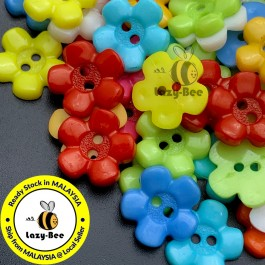 MC362: 100 pieces 15 mm Mixed Dyed Flower Button DY Sewing Garment Kids Craft Embellishment [ A13 ]