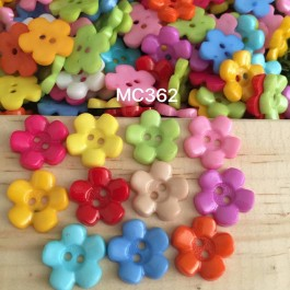 MC362: Mixed Dyed Flower Button 15x15mm, 100 pieces/pack [ A13 ]