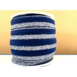 ER156: Blue Silver: FOE Fold Over Elastic Ribbon Elastic Band DIY Stretch Baby Headband Hair Tie Accessories Webbing 15mm, 5 meter