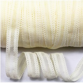 ER155: CREAM 028: 16mm Lace Elastic Ribbon FOE Fold Over Elastic Ribbon Elastic Band DIY Stretch Baby Headband Hair Tie Accessories Webbing, 5meter